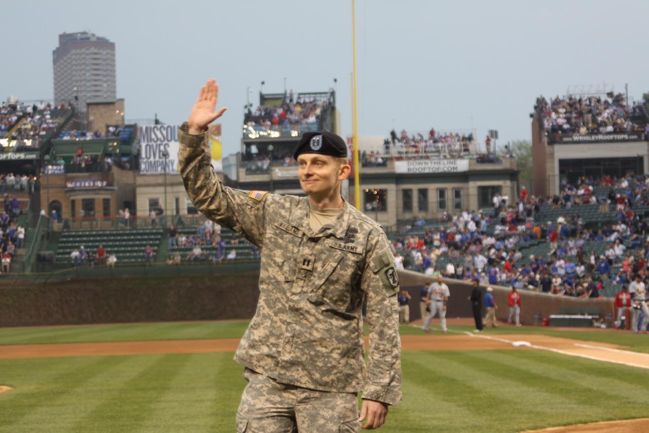 Sean Williams, Iraq veteran, waving at Wrigley Field