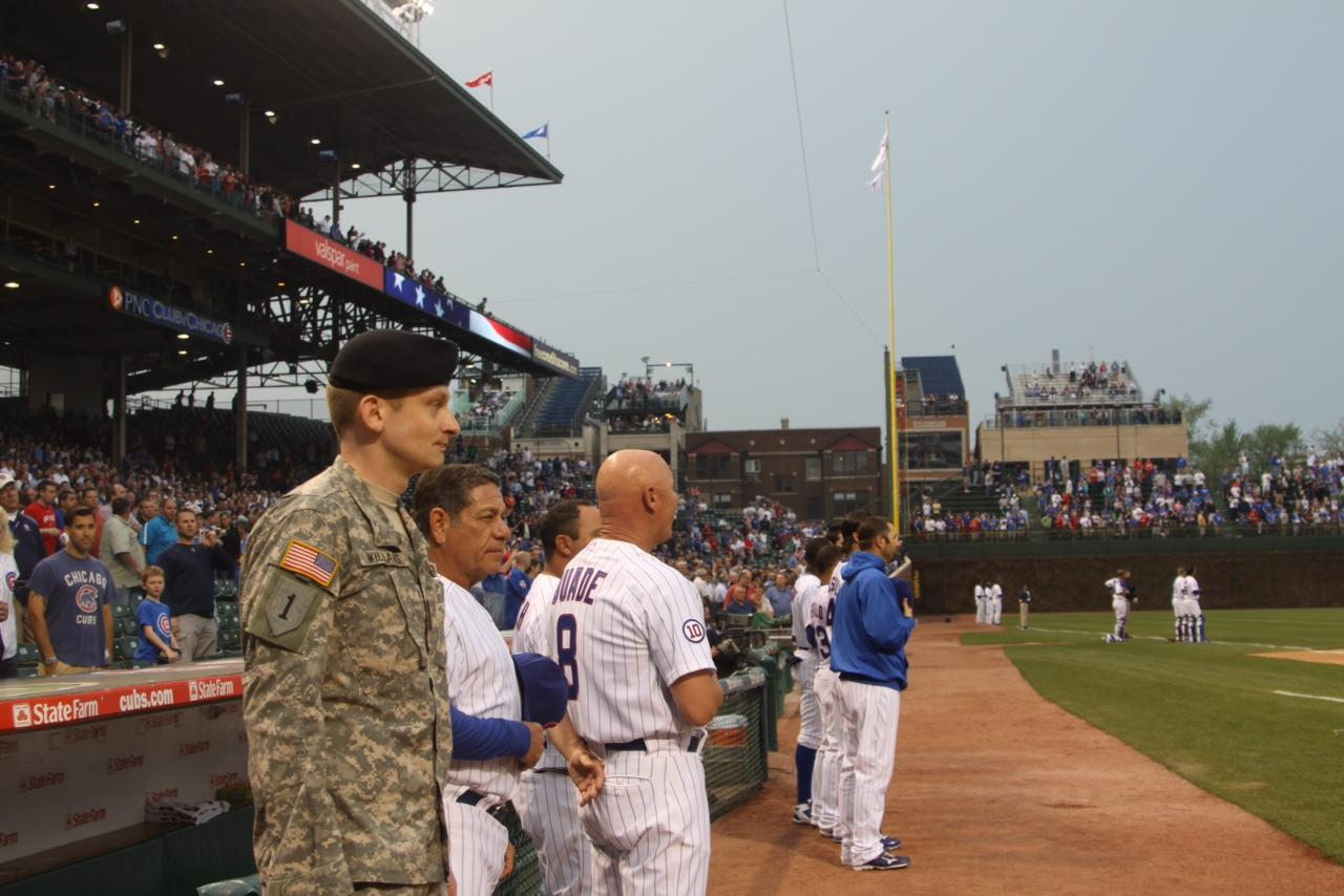 Iraq veteran Sean Williams with Cubs players, Wrigley Field